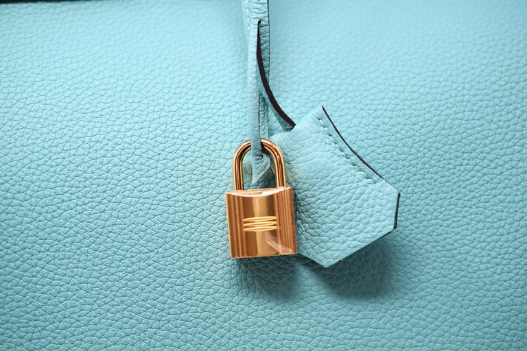 Hermes Birkin Bag 40cm Blue Atoll Clemence GHW For Sale 2