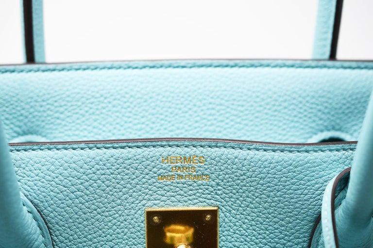 Hermes Birkin Bag 40cm Blue Atoll Clemence GHW For Sale 3