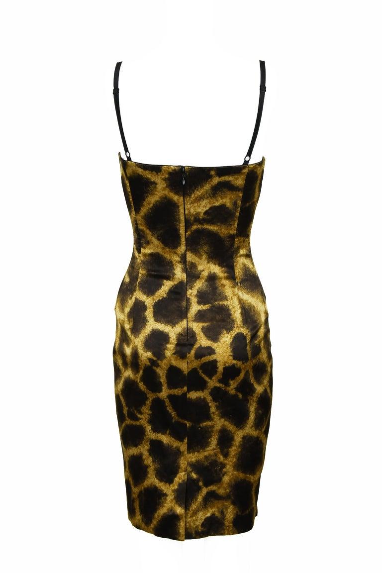Black Dolce & Gabbana Giraffe Print Silk Lace Up Dress - Size IT 40 For Sale