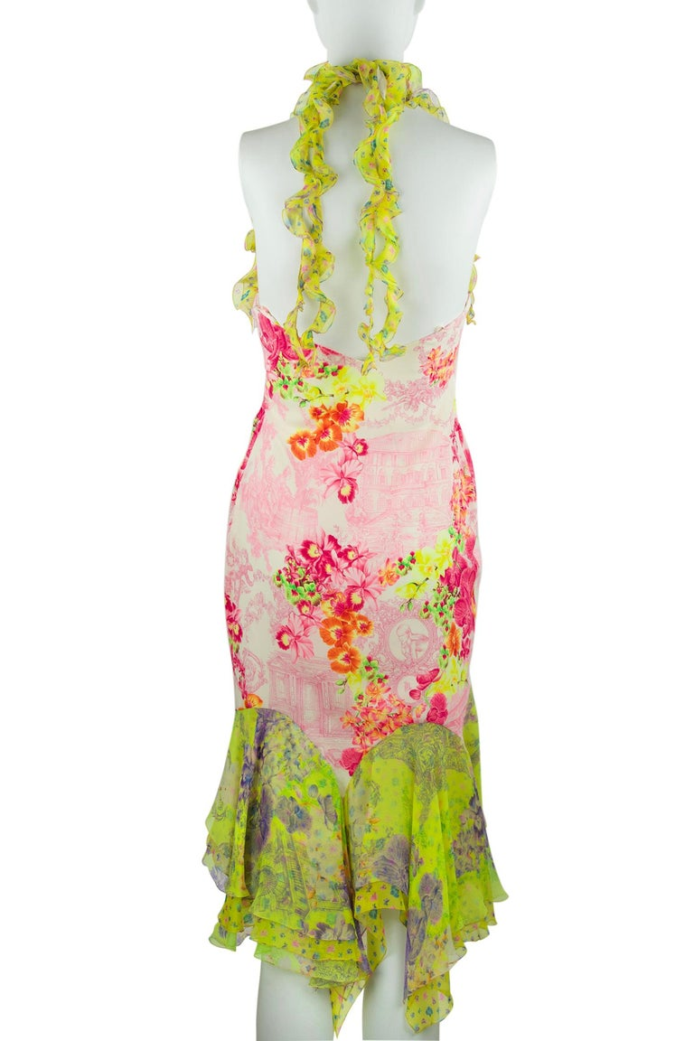 Beige Versace Pink & Green Floral Print Chiffon Dress - Size IT 42 For Sale