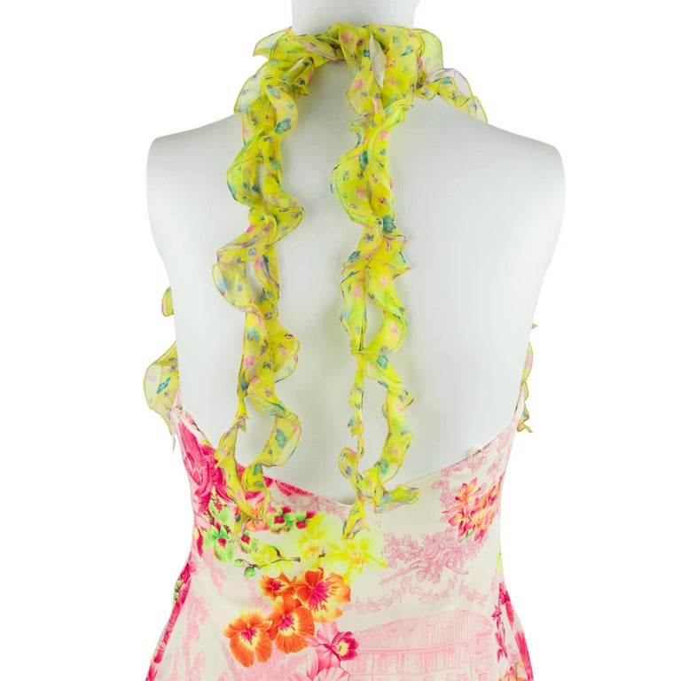 Versace Pink & Green Floral Print Chiffon Dress - Size IT 42 In Excellent Condition For Sale In Newport, RI