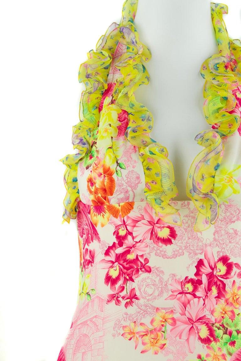 Women's Versace Pink & Green Floral Print Chiffon Dress - Size IT 42 For Sale