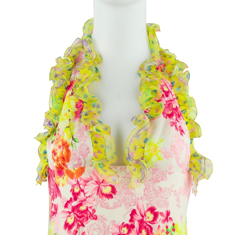 Versace Pink & Green Floral Print Chiffon Dress - Size IT 42 For Sale 2