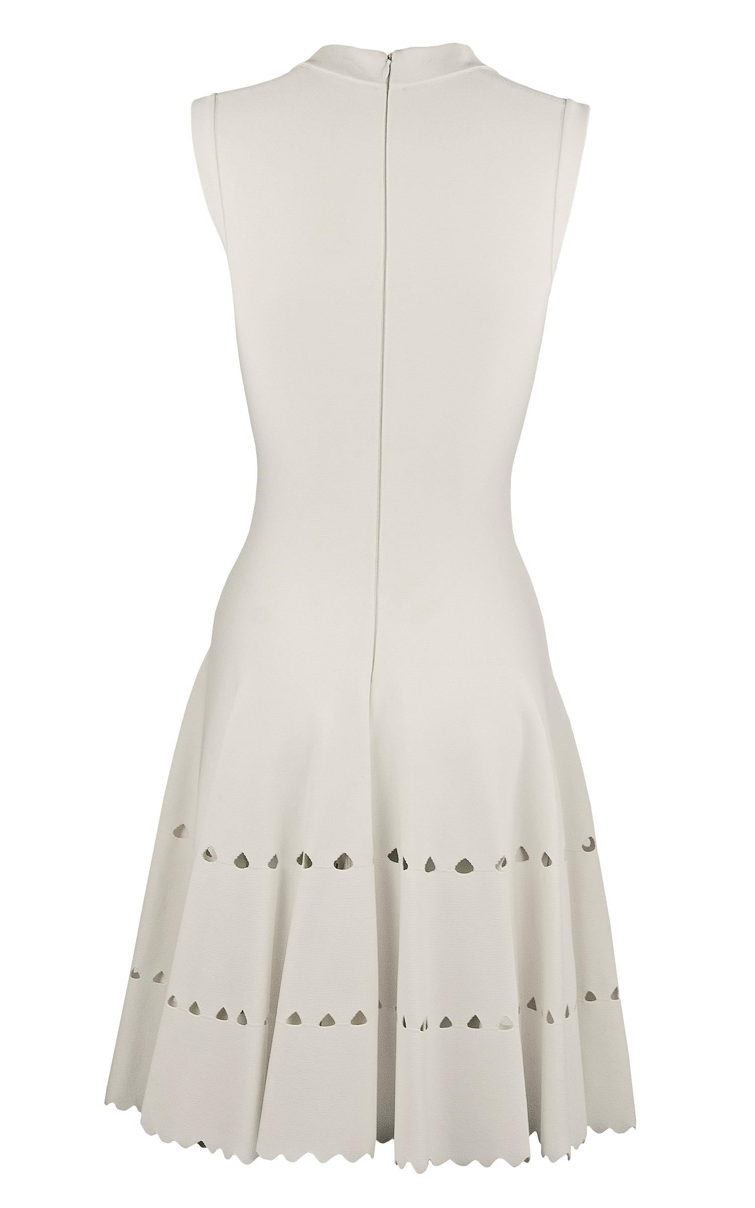e99b46b0527 Alaia White Laser Cut Fit and Flare Dress - Size FR 36 For Sale at 1stdibs