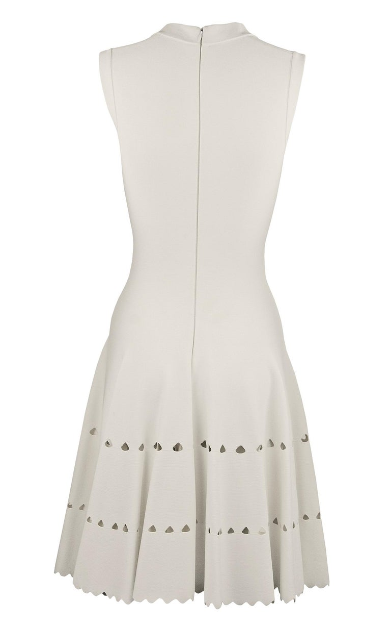 Gray Alaia White Laser Cut Fit & Flare Dress For Sale