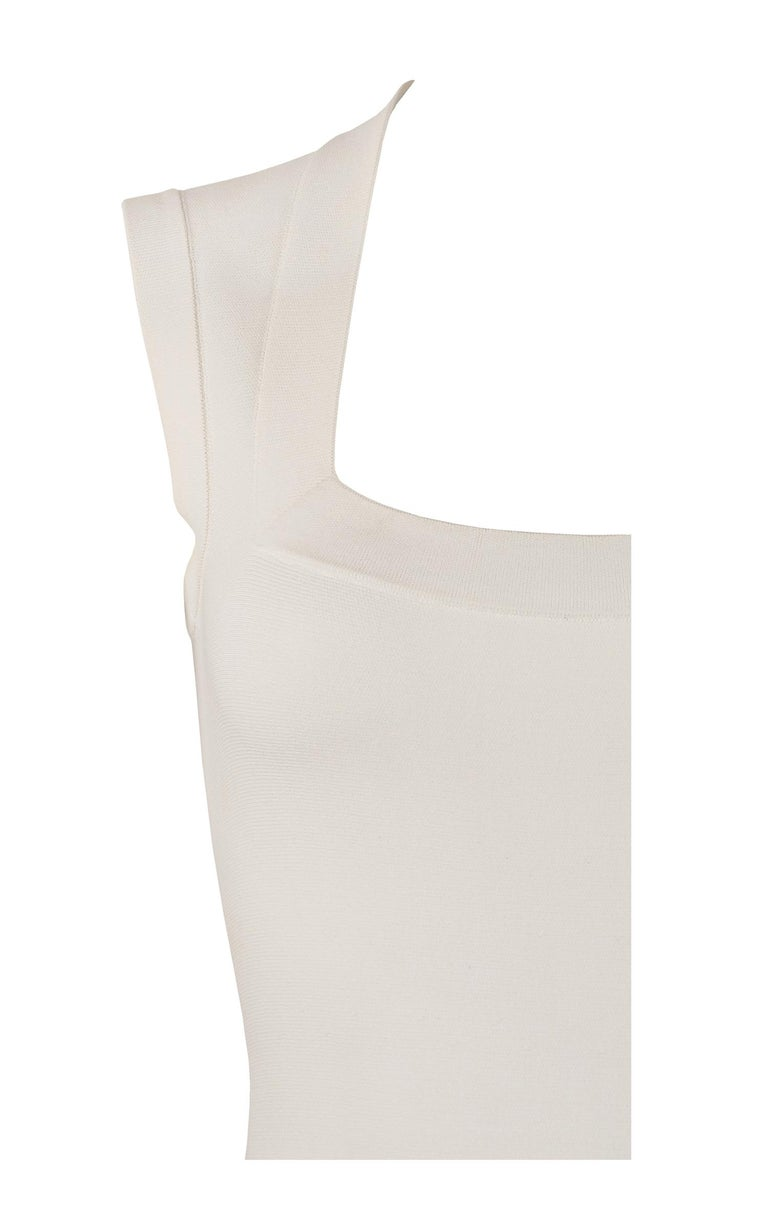Women's Alaia White Laser Cut Fit & Flare Dress For Sale
