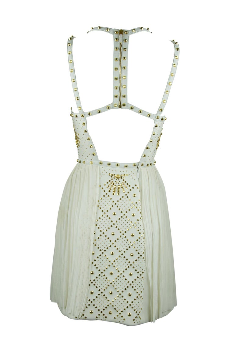 Gray Gianni Versace White Dress with Gold Studs and Leather Trim  For Sale