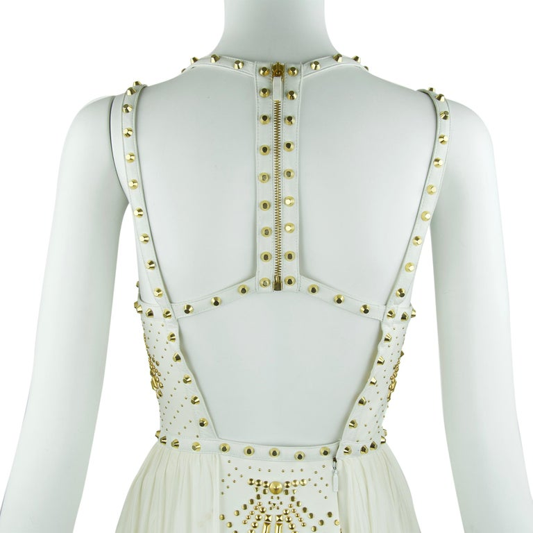 Gianni Versace White Dress with Gold Studs and Leather Trim  In Excellent Condition For Sale In Newport, RI