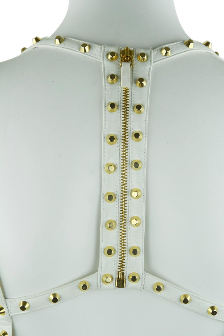 Women's Gianni Versace White Dress with Gold Studs and Leather Trim  For Sale