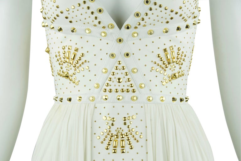 Gianni Versace White Dress with Gold Studs and Leather Trim  For Sale 2