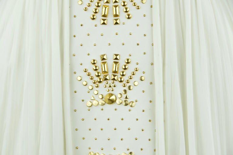 Gianni Versace White Dress with Gold Studs and Leather Trim  For Sale 5