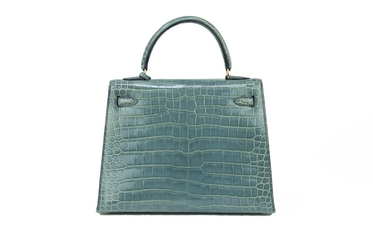 Gray Hermes Kelly 25cm Blue Jean Crocodile Sellier Bag GHW For Sale
