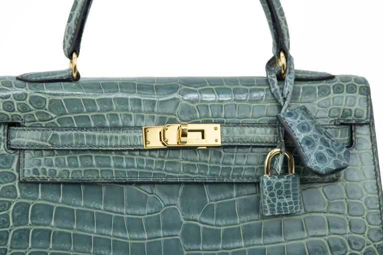 Hermes Kelly 25cm Blue Jean Crocodile Sellier Bag GHW For Sale 1