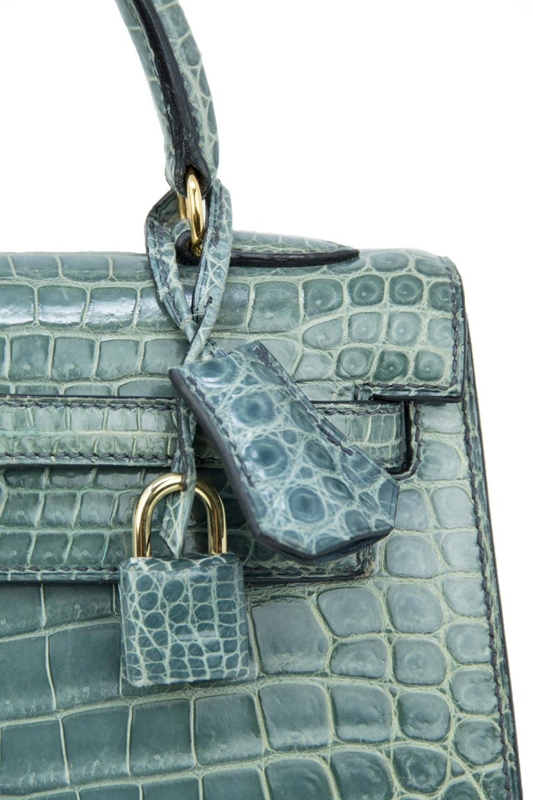 Hermes Kelly 25cm Blue Jean Crocodile Sellier Bag GHW For Sale 2