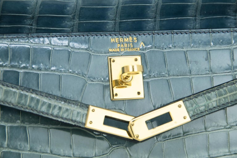 Hermes Kelly 25cm Blue Jean Crocodile Sellier Bag GHW For Sale 3