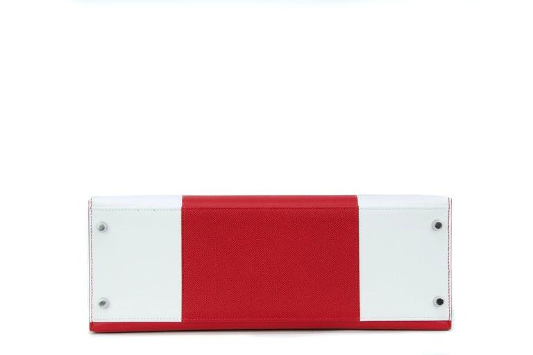 Red Hermes Kelly Sellier Bag 35cm Limited Edition Flag Bag w Palladium Hardware For Sale