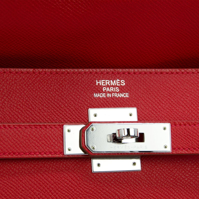 Hermes Kelly Sellier Bag 35cm Limited Edition Flag Bag w Palladium Hardware In New Condition For Sale In Newport, RI