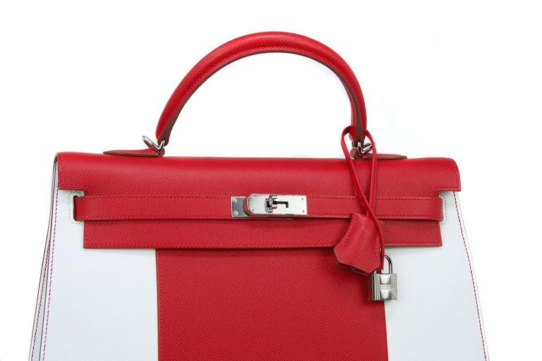 Women's Hermes Kelly Sellier Bag 35cm Limited Edition Flag Bag w Palladium Hardware For Sale