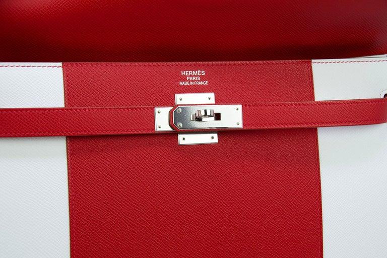 Hermes Kelly Sellier Bag 35cm Limited Edition Flag Bag w Palladium Hardware For Sale 1