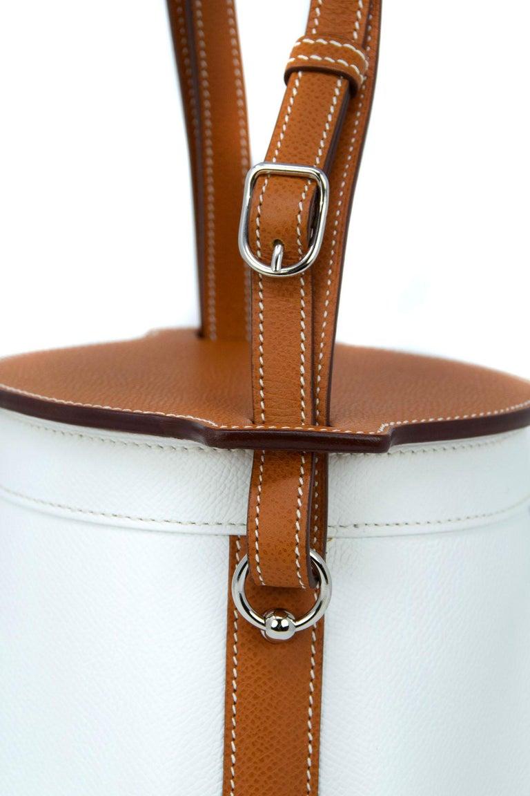 Gray Hermes White Epsom and Barenia Farming Bag For Sale