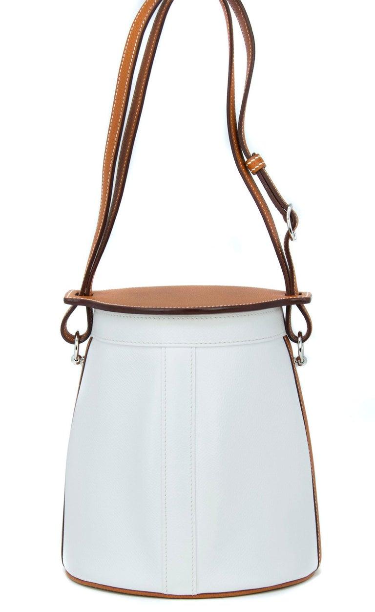 Hermes White Epsom and Barenia Farming Bag In New Condition For Sale In Newport, RI