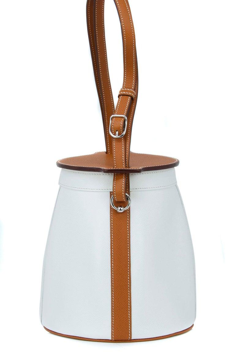 Women's Hermes White Epsom and Barenia Farming Bag For Sale