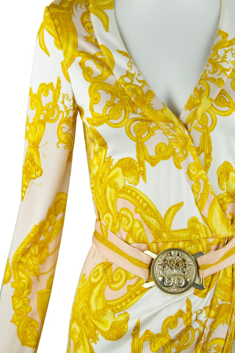 Yellow Versace White / Gold / Light Pink Silk Jersey Wrap Dress  For Sale