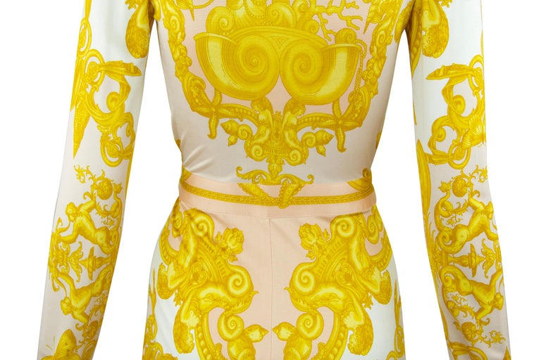 Versace White / Gold / Light Pink Silk Jersey Wrap Dress  In Excellent Condition For Sale In Newport, RI