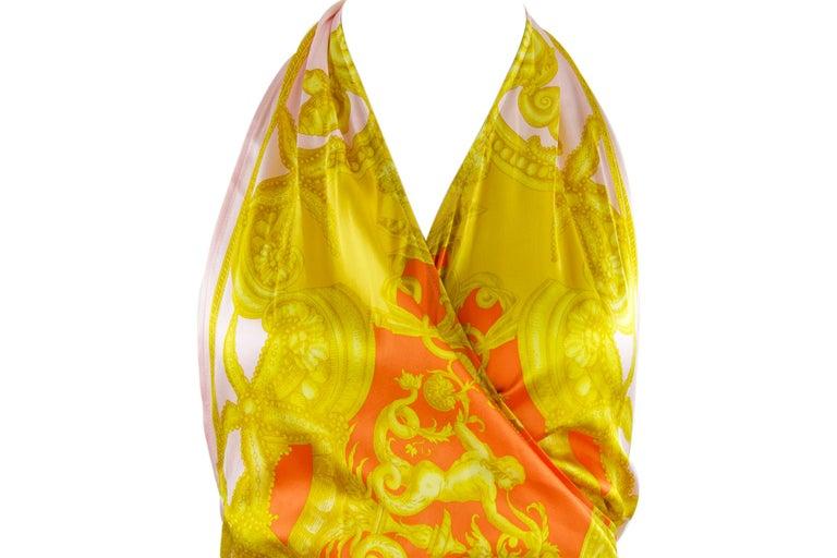 Women's Versace Pink Orange Gold Silk Halter Dress  For Sale