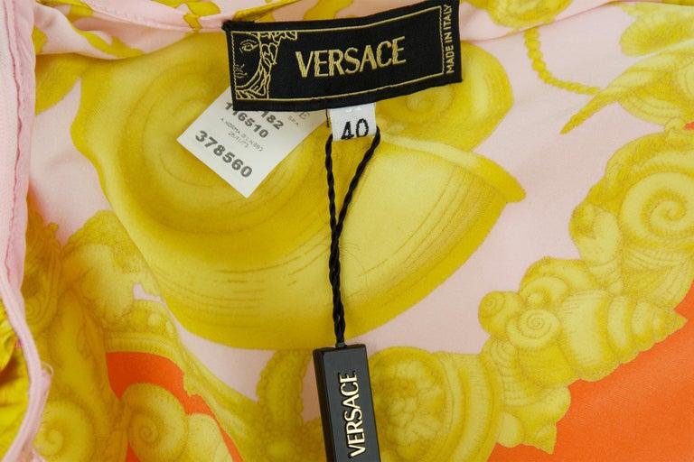 Versace Pink Orange Gold Silk Halter Dress  For Sale 2