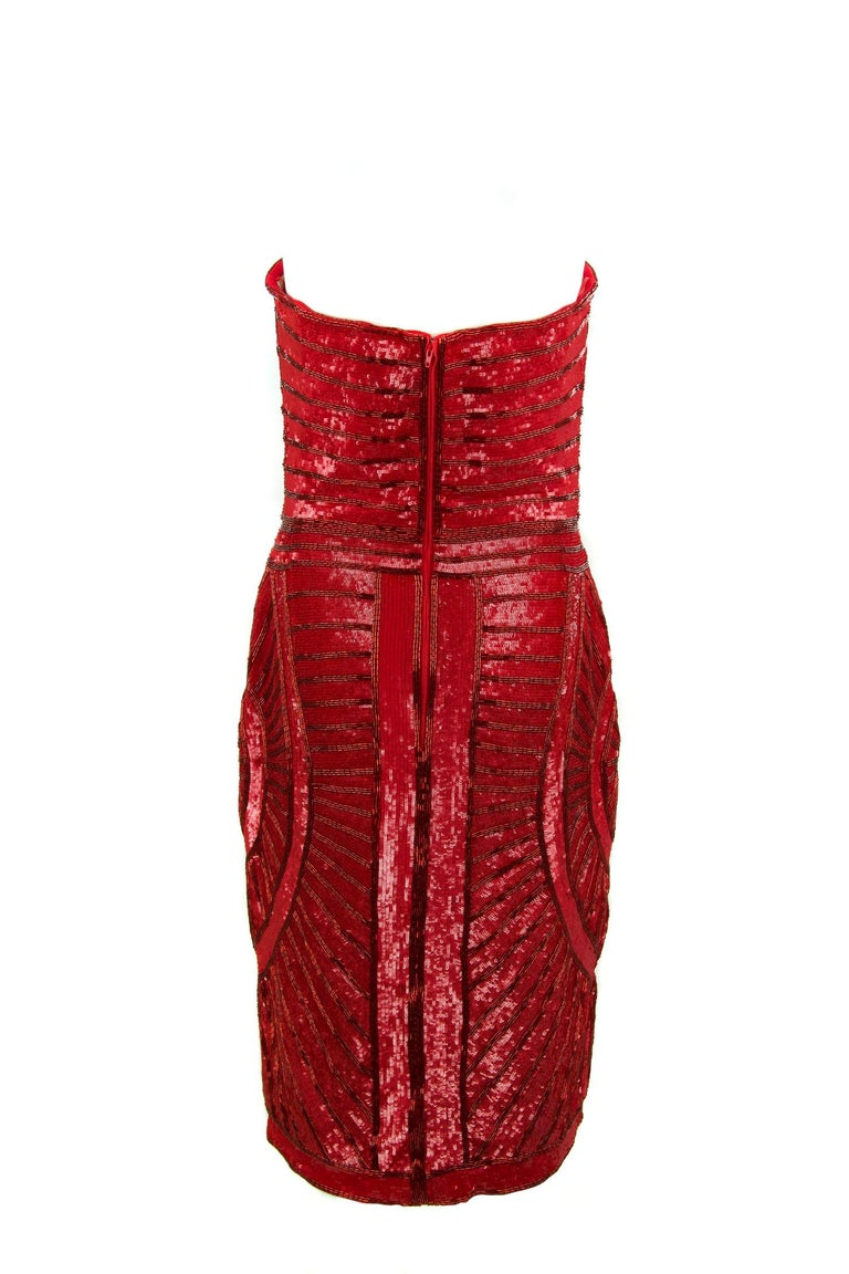 Zuhair Murad Nude Red Beaded Strapless Dress - Size FR 40 In New Condition For Sale In Newport, RI