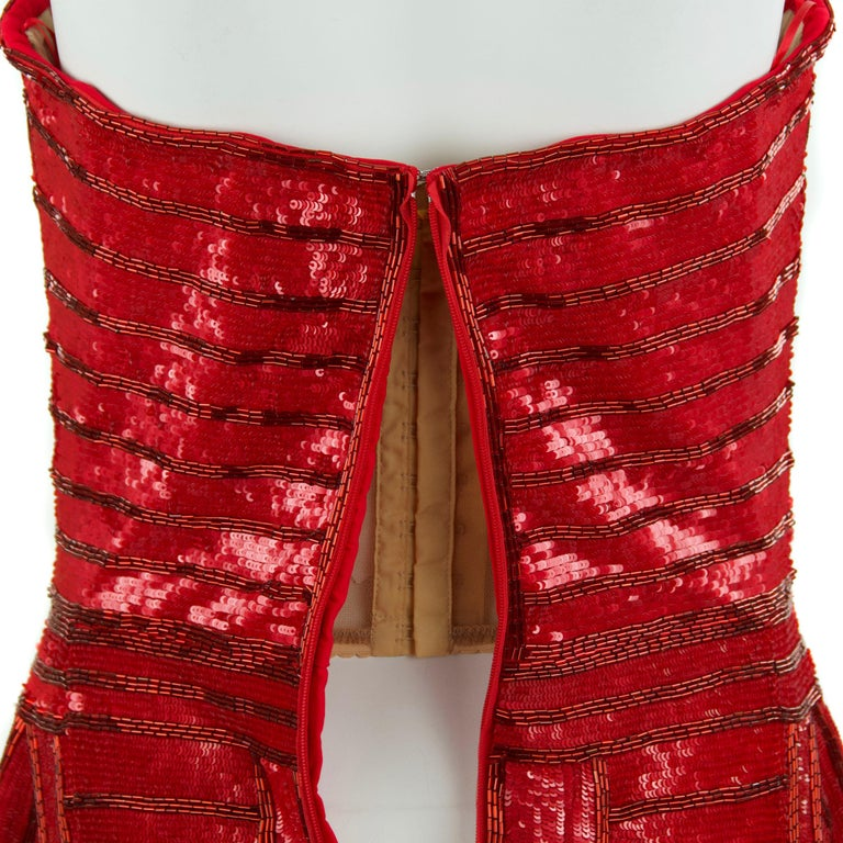 Zuhair Murad Nude Red Beaded Strapless Dress - Size FR 40 For Sale 1