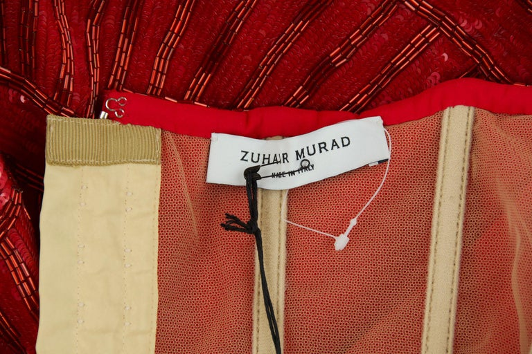 Zuhair Murad Nude Red Beaded Strapless Dress - Size FR 40 For Sale 2