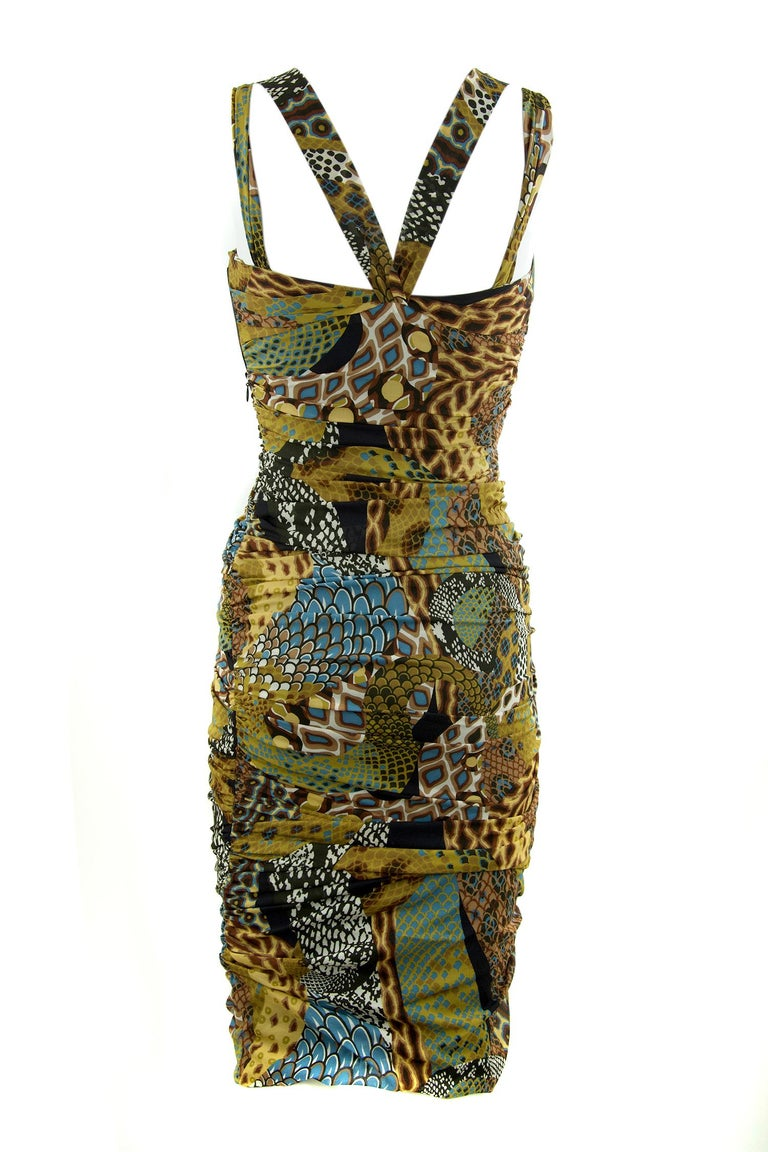 Versace Runway Iconic Sleeveless Dress in Brown, Green & Turquoise - Size IT 42 In New Condition For Sale In Newport, RI