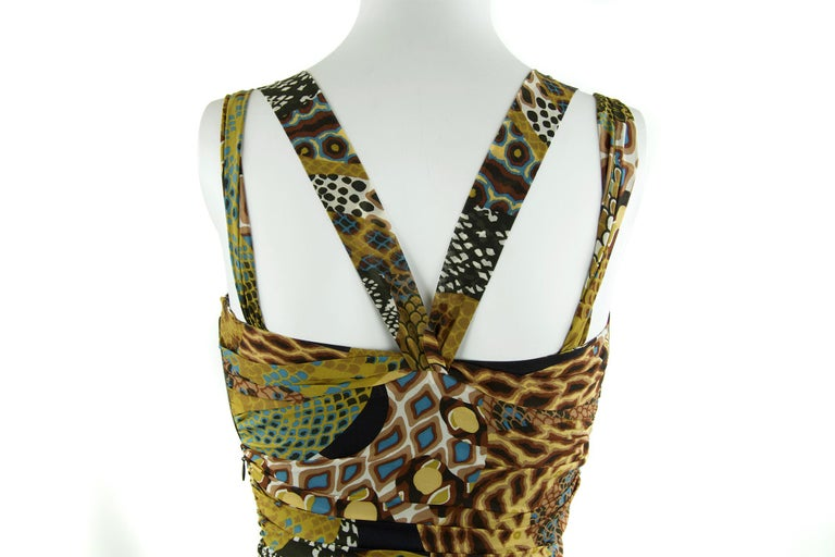 Women's Versace Runway Iconic Sleeveless Dress in Brown, Green & Turquoise - Size IT 42 For Sale