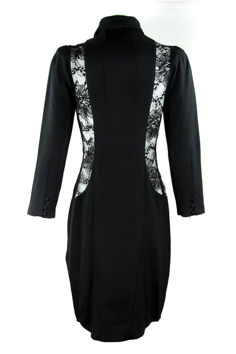 f3102f9a360f Agent Provocateur Three Quarter Sleeve Black Dress with Lace Inserts - Size  3 In New Condition