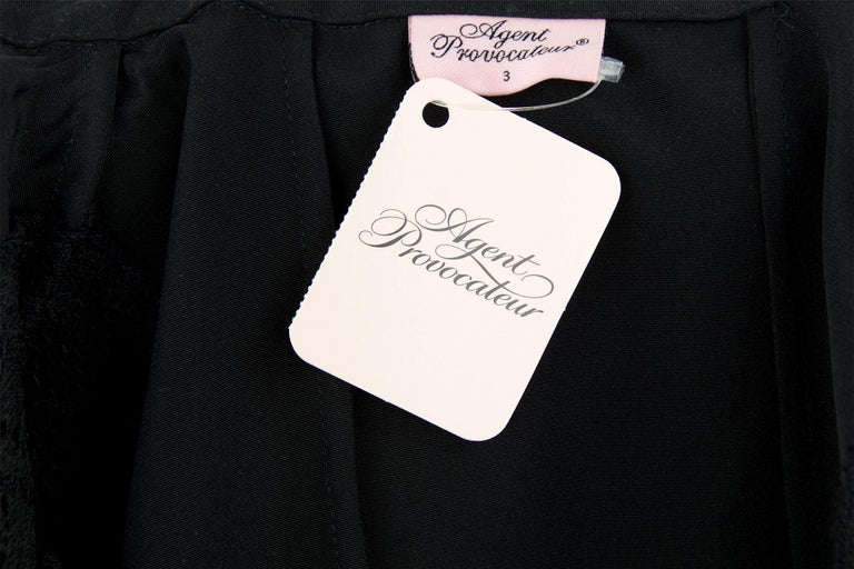 9ca306b8c991 Agent Provocateur Three Quarter Sleeve Black Dress with Lace Inserts - Size  3 For Sale 4