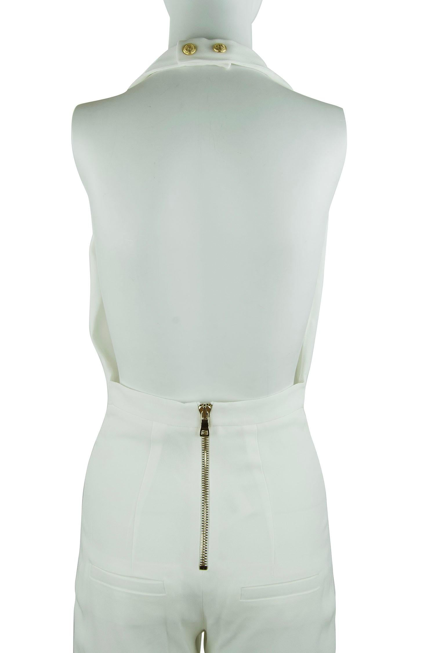 e3e84a5fd41 Balmain White Halter Jumpsuit - Size FR 36 For Sale at 1stdibs