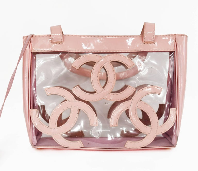 Women's Gorgeous Chanel Nude / Pale Pink patent leather CC Logo Clear Tote Bag For Sale