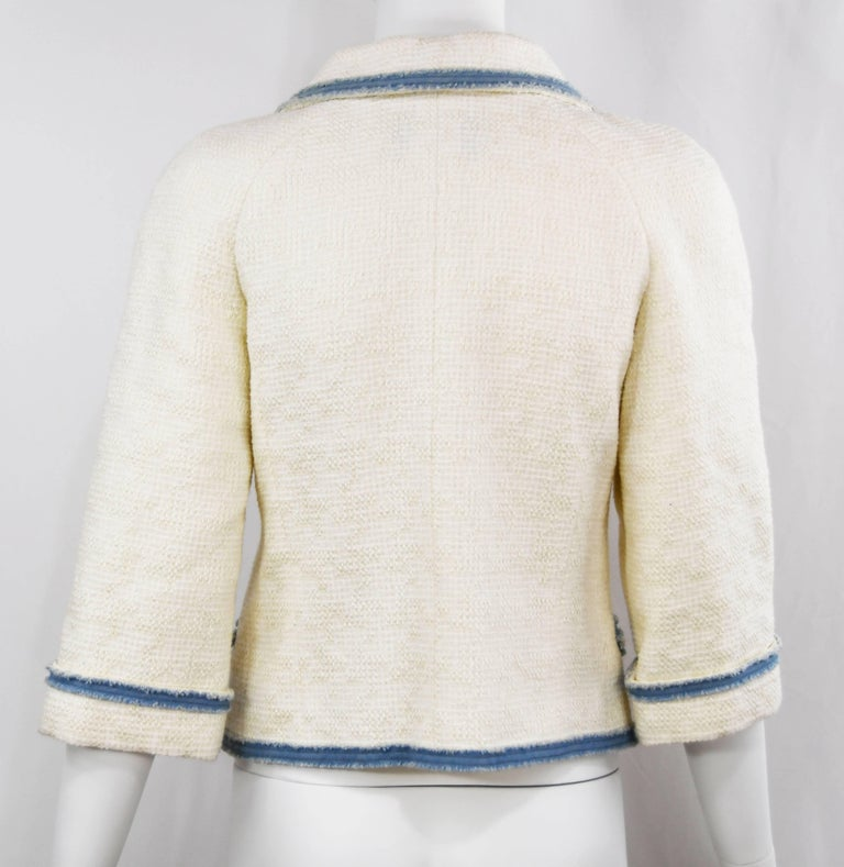 Gray Chanel 2007 Timeless White Boucle Denim Trimmed Jacket with Logo Buttons For Sale