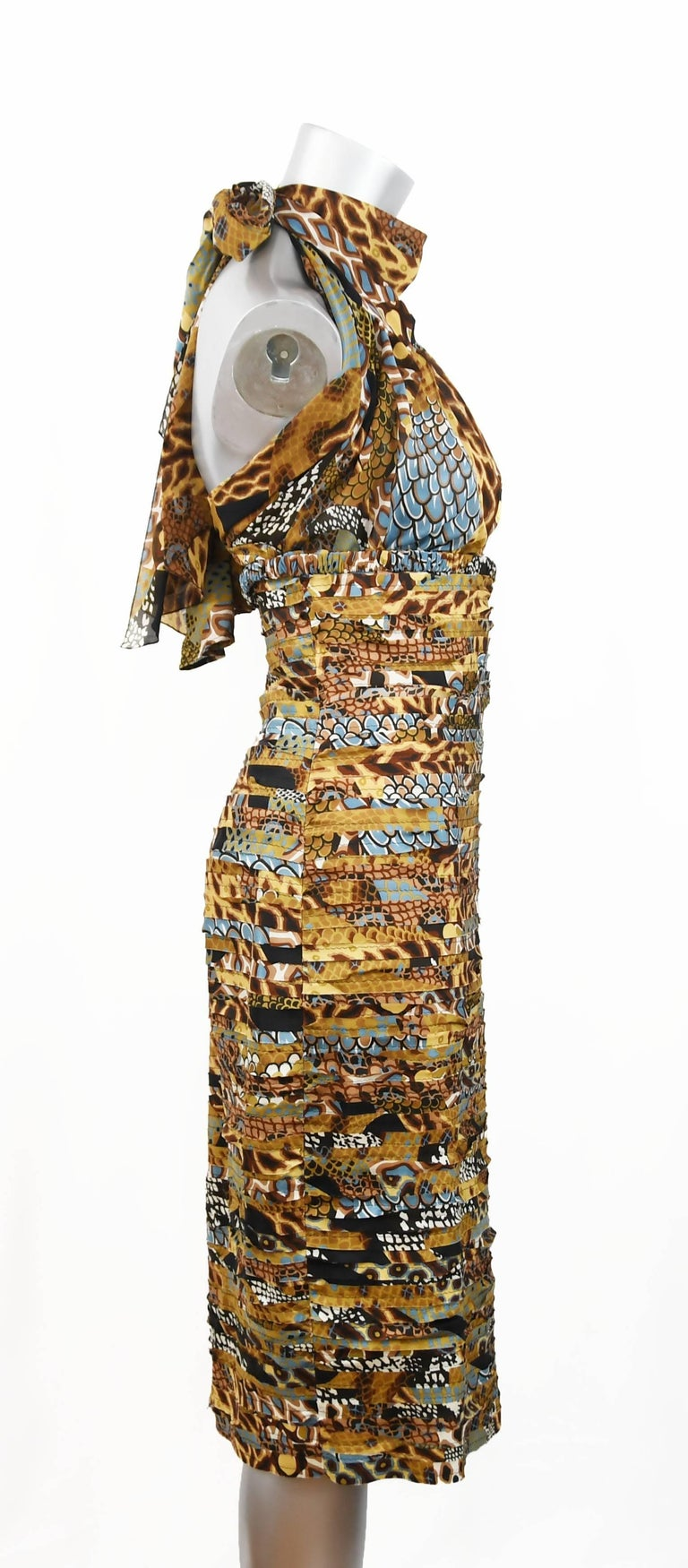 Women's Versace Runway Iconic Plunged Neckline Dress in Browns and Turquoise, Size 4 For Sale