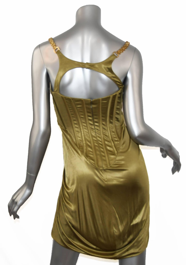 Brown Versace Chain Embellished Olive Corset Cocktail Dress, Size 40 For Sale