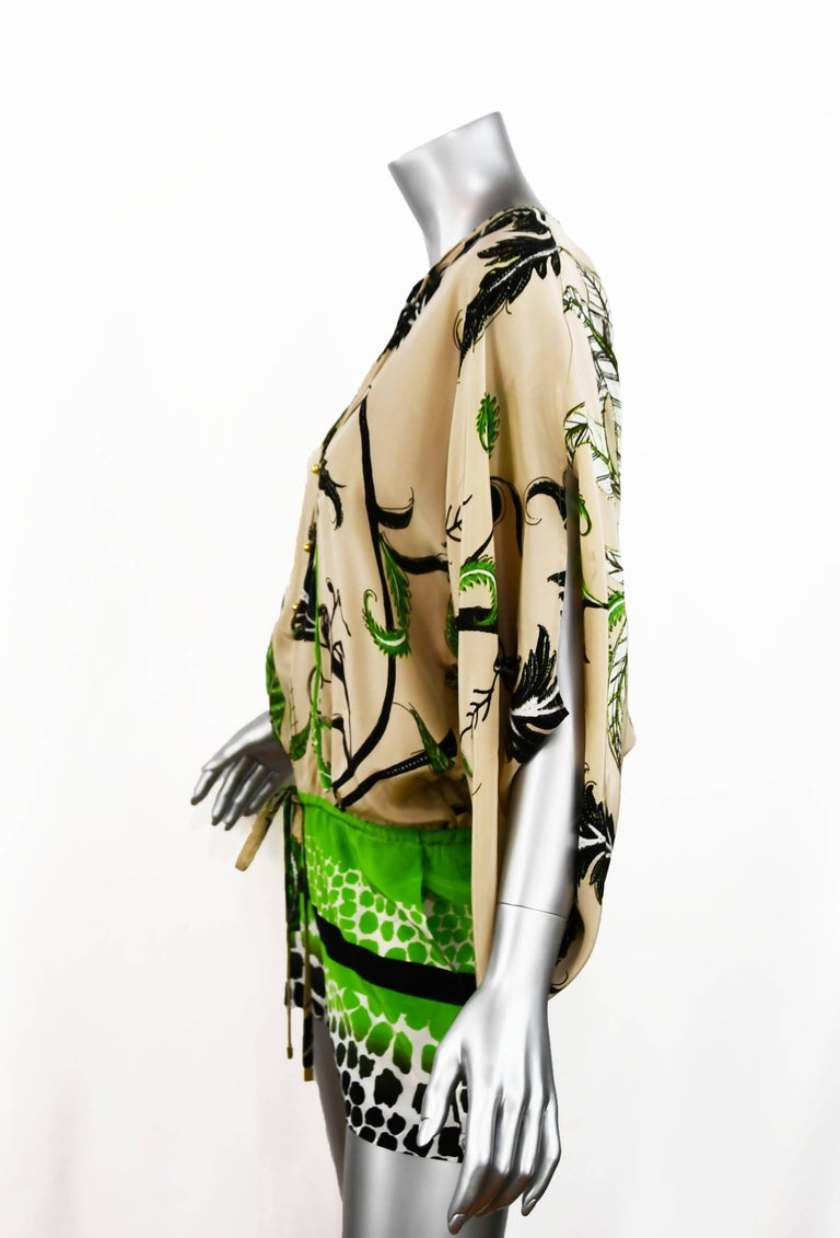 Roberto Cavalli jungle print silk chiffon tunic style short romper with Kimono like sleeves.  Colors of ivory, green and black.  Perfect for resort.  New with tags.  Size 38