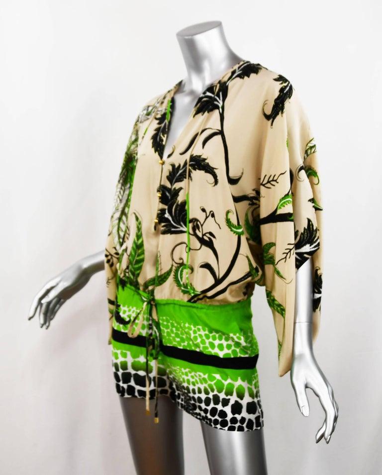 Beige Roberto Cavalli Jungle Print Silk Chiffon Short Romper, Size 38  For Sale
