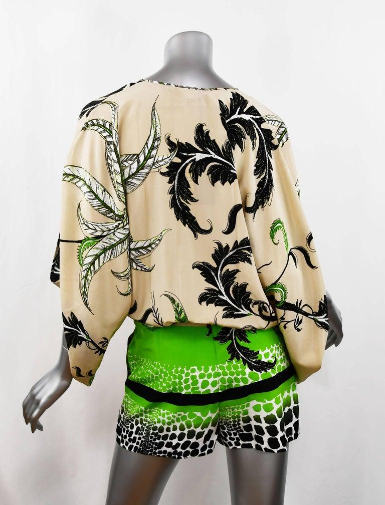 Roberto Cavalli Jungle Print Silk Chiffon Short Romper, Size 38  In New Condition For Sale In Newport, RI