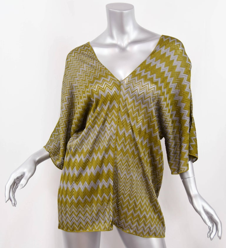 Missoni Olive Green and Grey one size Zigzag Knit Tunic  For Sale 2