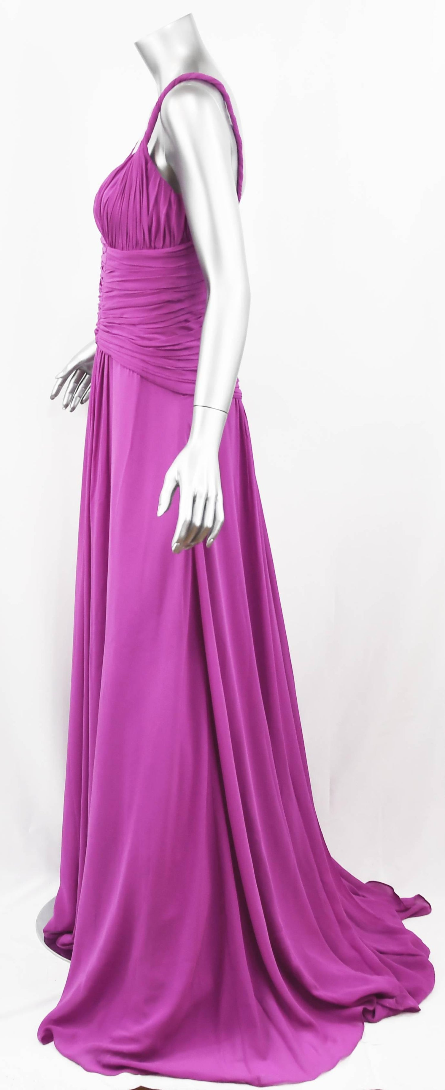 Emanuel Ungaro Long Chiffon Gown in Magenta, Size 4 For Sale at 1stdibs