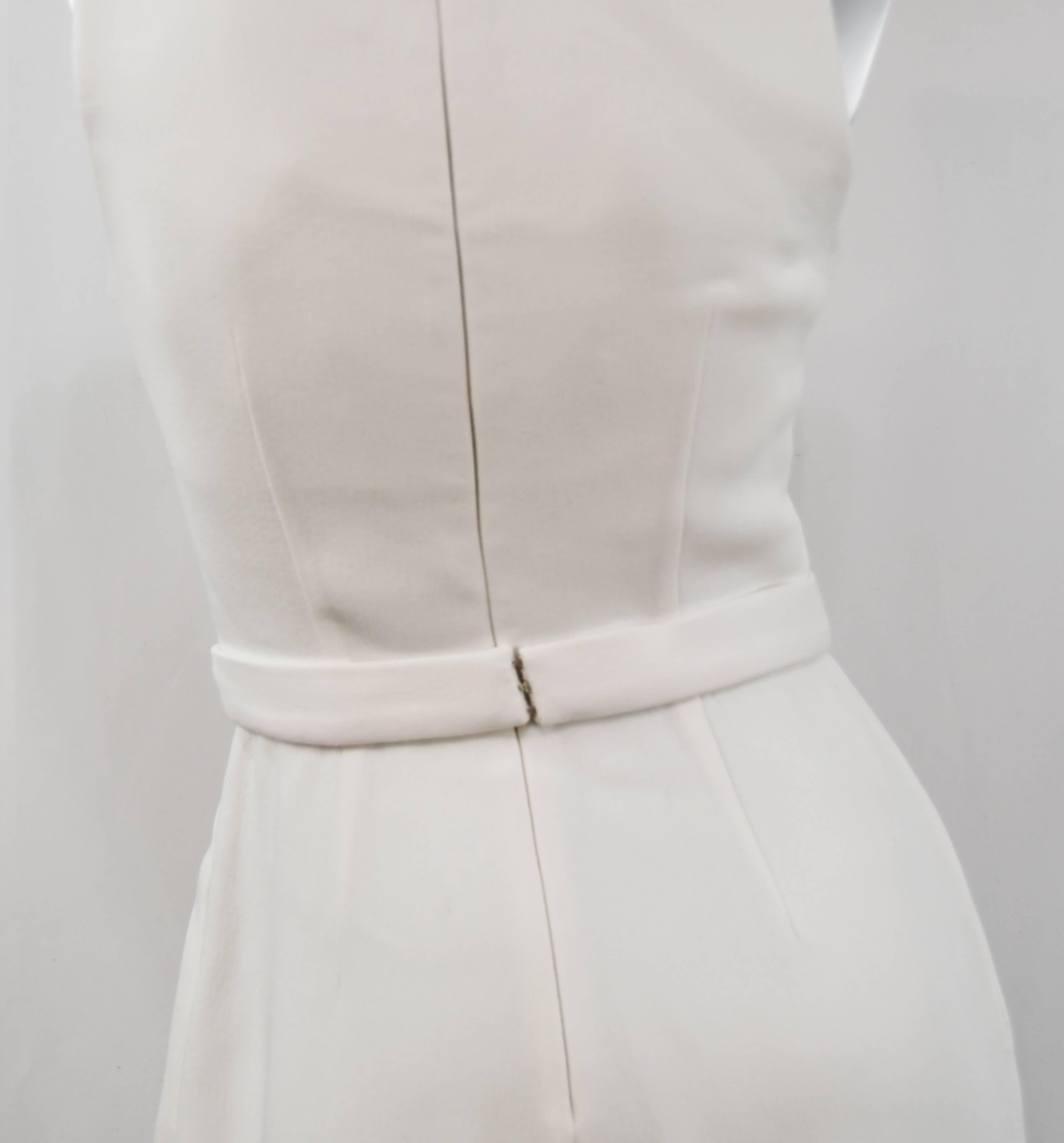 75046173927 Brandon Maxwell Sleeveless Crepe Wide Leg White Jumpsuit