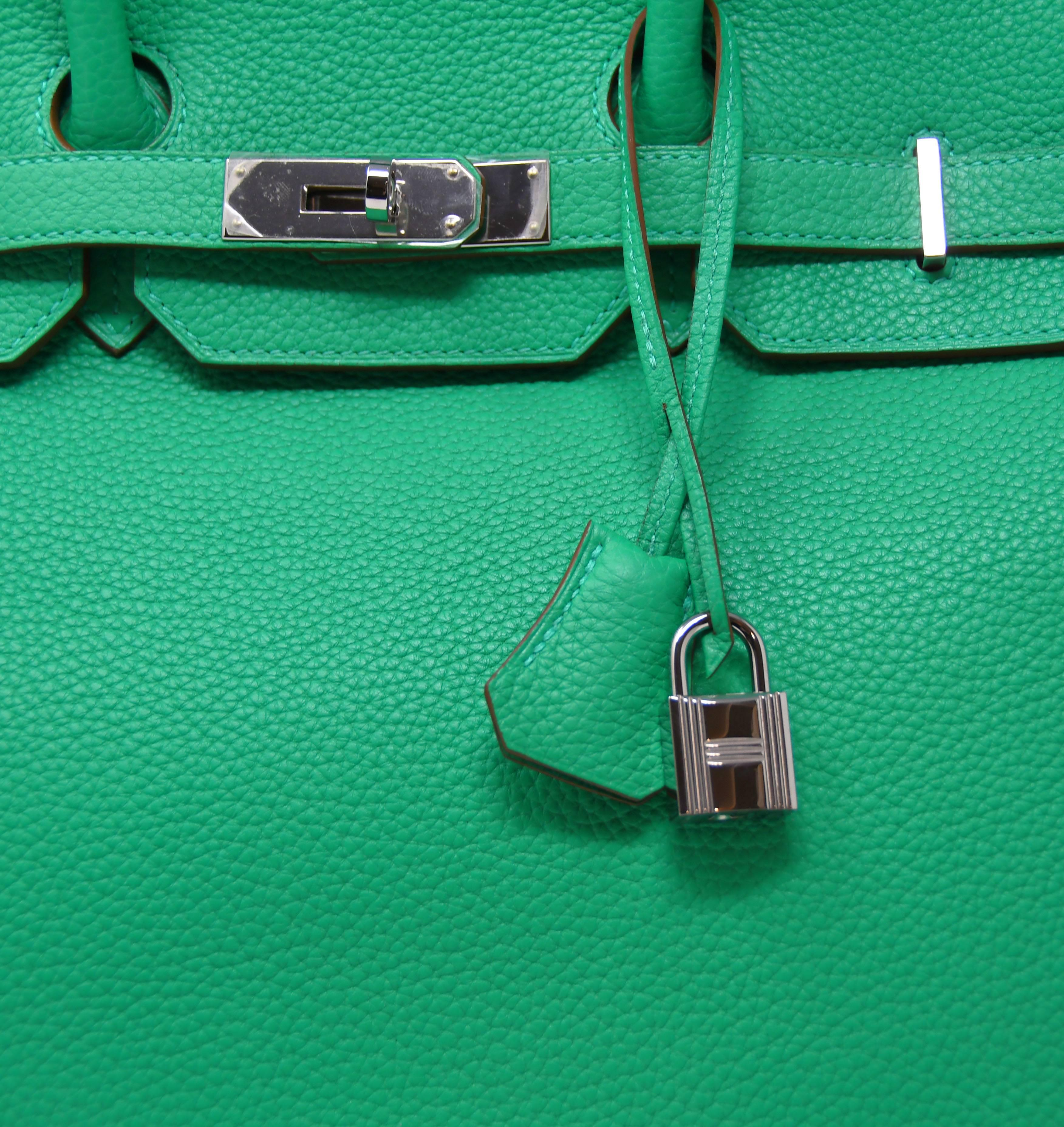 9c36d065a46e ... canada hermes birkin bag 35cm green menthe leather with palladium  hardware for sale 1 a22f8 caece