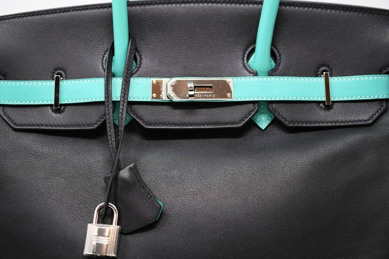 83053211bbe7 Hermes Birkin Bag 35cm Black Leather with Lagoon and Palladium Hardware For  Sale 1